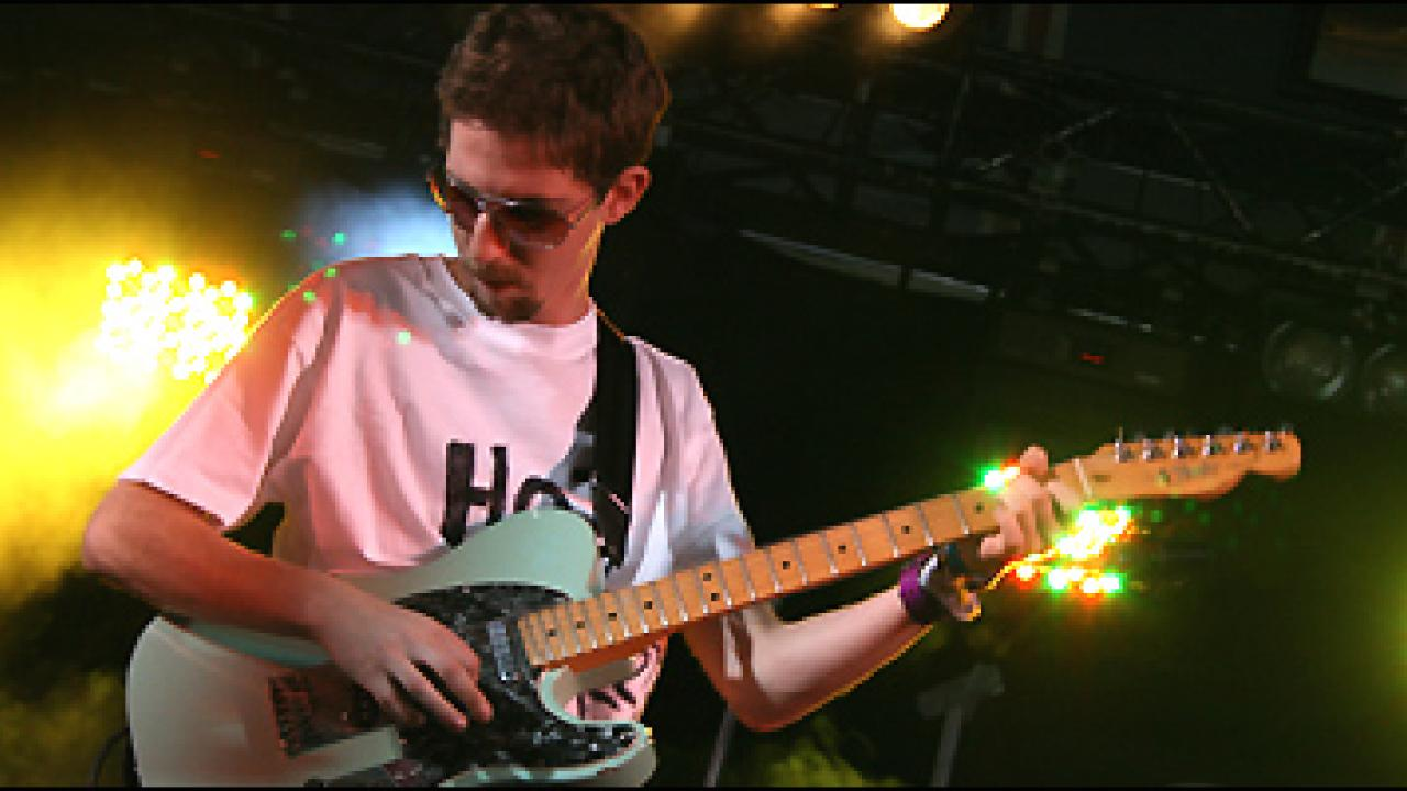 Pete Hefferan playing the Carling Stage at Reading Festival 2007